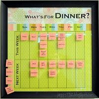 """Meal Planner made from scrapbook 12"""" x 12"""" picture frame. Post sticky notes onto glass to organize the week's menu."""