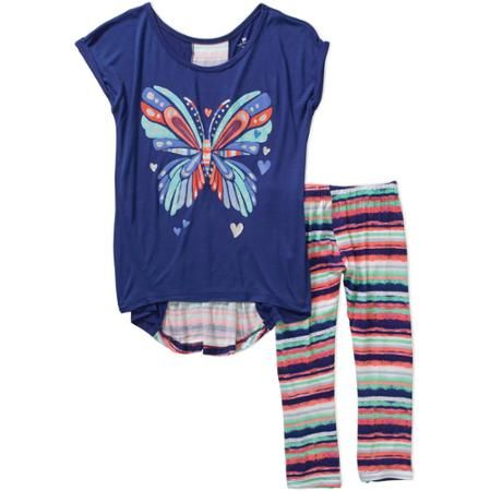 One Step Up Girls Butterfly Print 3-Piece Leggings Set Outfit