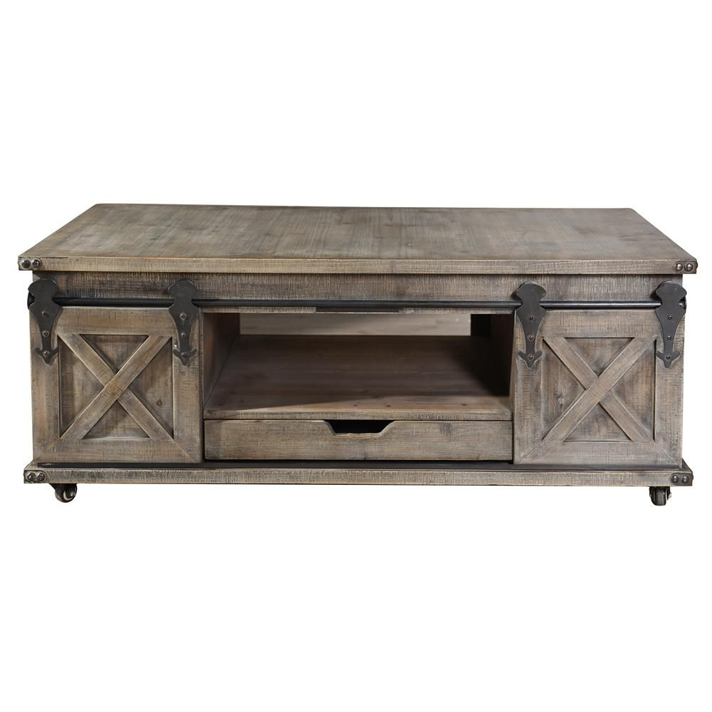 Stylecraft Presley Driftwood Grey 2 Door With Drawer Coffee Table