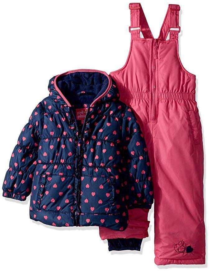 cf102f1b9 Metallic Star Print Puffer Jacket Coat & Snowbib, 2-Piece Snowsuit |  Products | Baby snowsuit, Line jackets, Coat