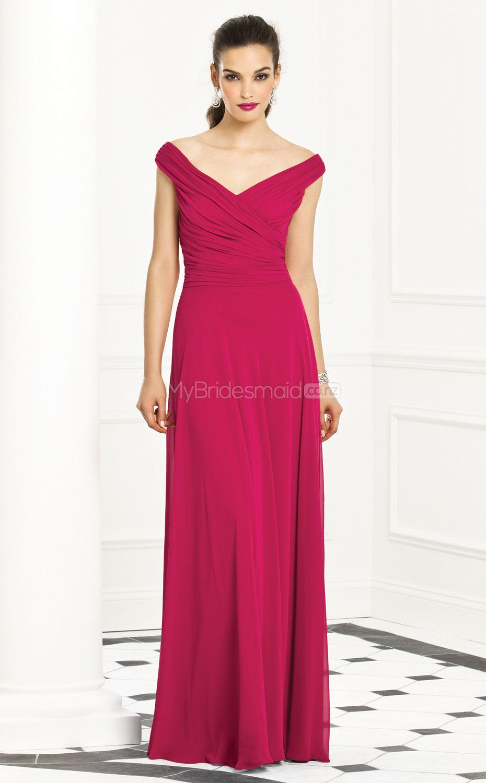 Fuchsia chiffon princess off the shoulder floorlength bridesmaid