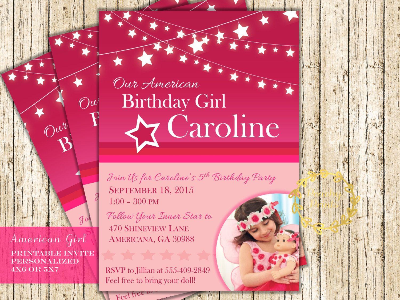 American Girl Doll Birthday Party Invitation Digital Printable ...