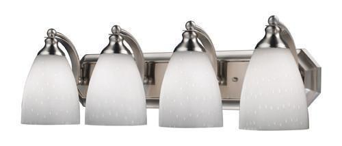 ELK Lighting 570-4N-Wh Four Light Vanity In Satin Nickel And Simply White Glass