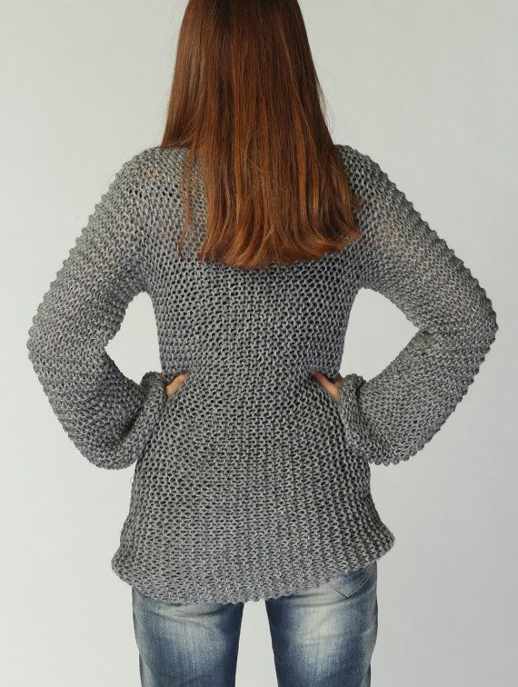 Hand knit sweater  Eco cotton long sweater in Charcoal/ dark