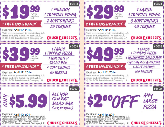 Chuck e cheese discount coupons