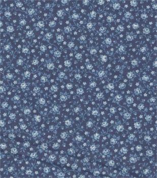 Recuerdo de Calico Tela-Navy Con Blue Roses