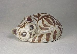 Ceramic Curled Cat with Brown Stripes by Brenda Andersen. $46.00, via Etsy.