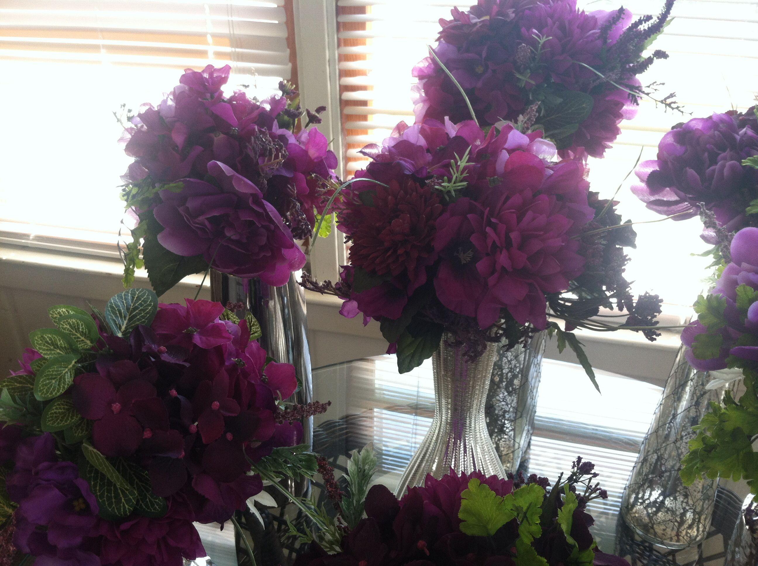 Bridesmaid bouquet plum purple flowers silk arrangement diy me