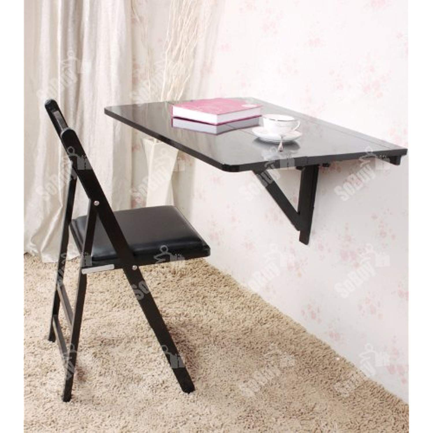 Haotian Wall Mounted Drop Leaf Table Double Folding Kitchen And Dining Solid Wood Table Desk 80cm 31 Wall Mounted Table Drop Leaf Table Leaf Table