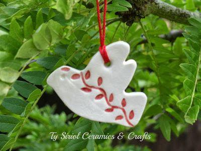 christmas tree ceramics christmas tree decoration dove of peace by ty siriol ceramics