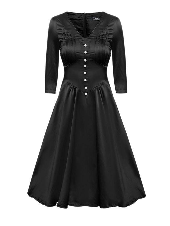 75e967fa7e V-Neck Decorative Button Plain Skater Dresses