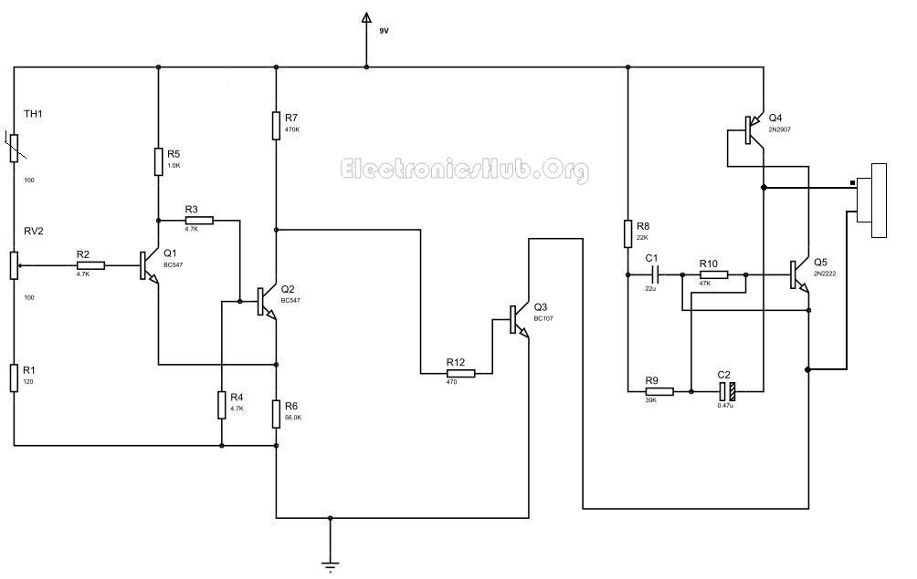 fire alarm circuit with siren sound using thermistors circuits siren tornado on fire  tilt sensor wiring diagram