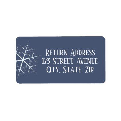 dark blue snowflake Holiday Mailing Label - holidays diy custom - mailing label designs