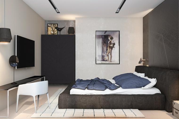 Innenarchitektur, die Holz und Schwarzweiss-Farben kombiniert Haus