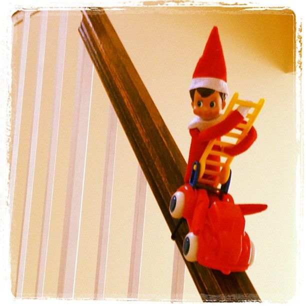 The Elf On The Shelf ~Elf response to a banister fire.Photo by mamamissblog