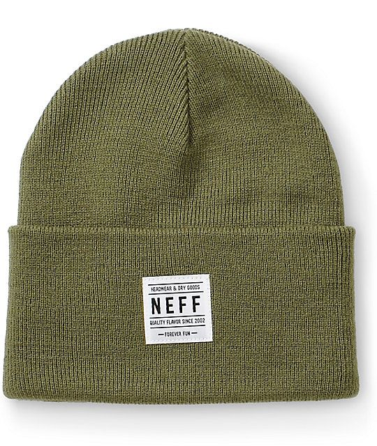 5d3cf675258 Neff Lawrence Olive Beanie