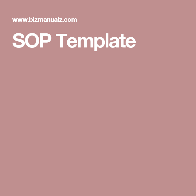 Sop Template  Quality Management    Standard Operating