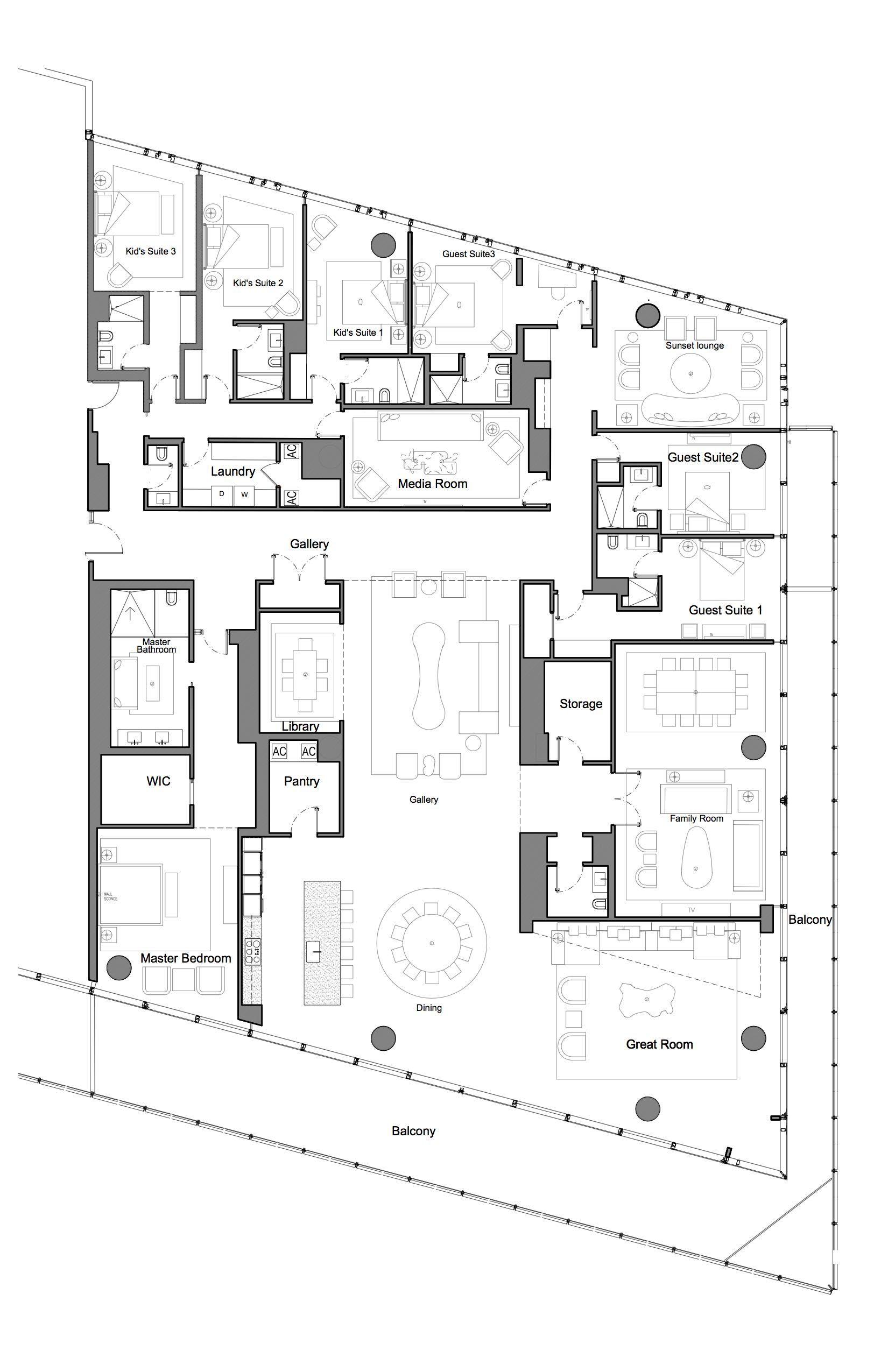 Miami Beach Condominiums Hsj Archiecture Condo Floor Plans Family House Plans Vintage House Plans