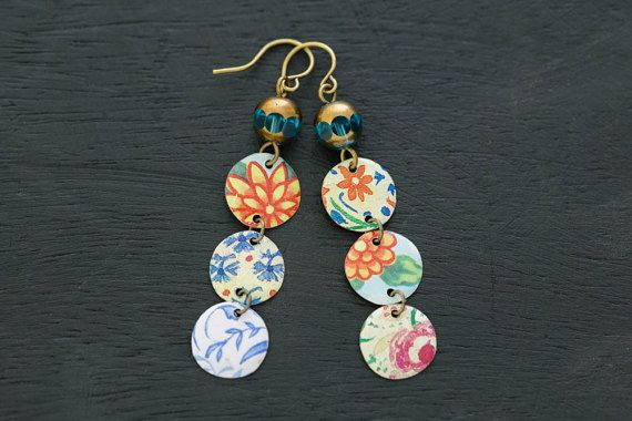 Mismatched Earrings with Blue Czech Beads by MusingTreeStudios