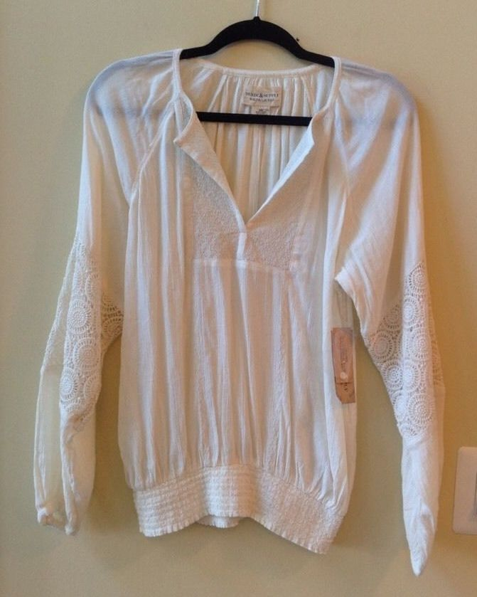 NWT RALPH LAUREN WOMEN'S SOLID CREAM COTTON/RAYON LONG SLEEVE BLOUSE SIZE M #LaurenRalphLauren #Blouse