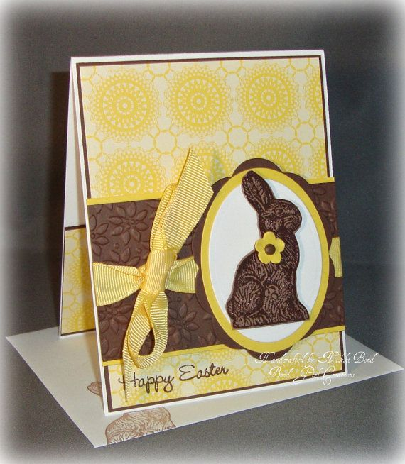 handmade Easter card ... cheerful yellow with a Chocolate Easter Bunny  ... like it! ... Stampin'Up! materials ... Etsy
