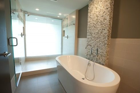 partial freestanding tub | ideas for hiding the plumbing