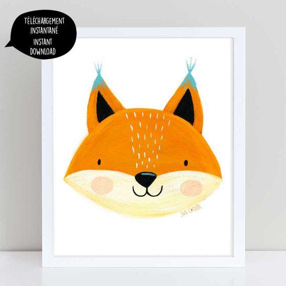 Fox Head Ilration Art Wall