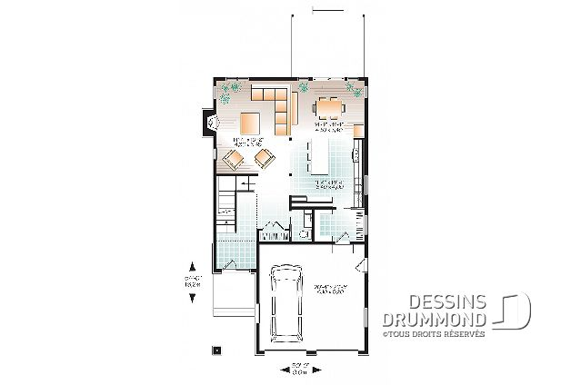 Rez-de-chaussée - Plan de maison 4 chambres, espace ouvert, chambre