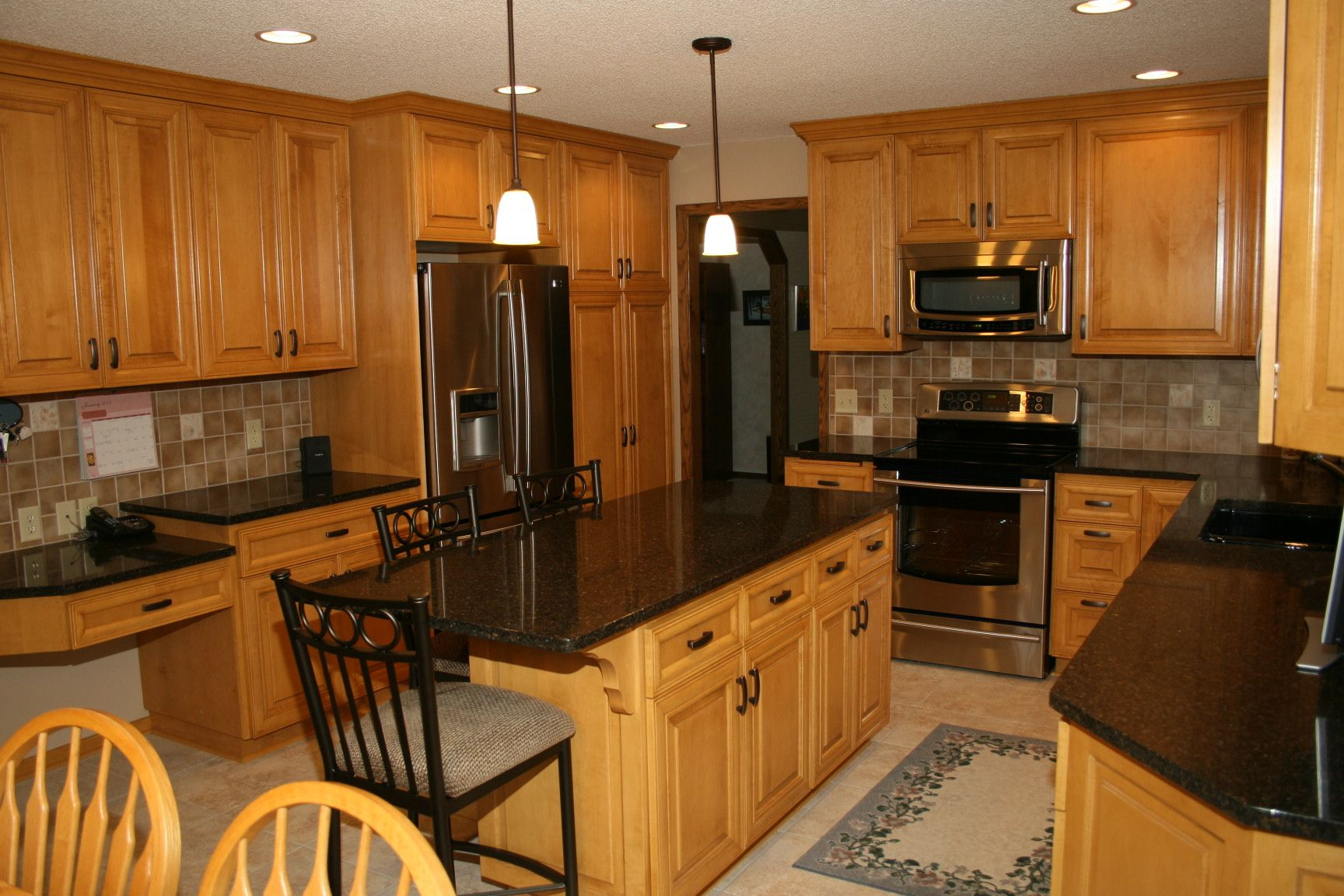 Furniture, L Shaped Light Wood Kitchen Cabinet With Black ... on Natural Maple Cabinets With Black Granite Countertops  id=84273