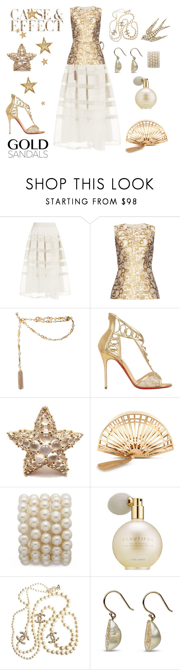"""Golden Lady"" by conch-lady ❤ liked on Polyvore featuring Temperley London, STELLA McCARTNEY, Chanel, Envi, Christian Louboutin, Pomellato, Charlotte Olympia and Estée Lauder"