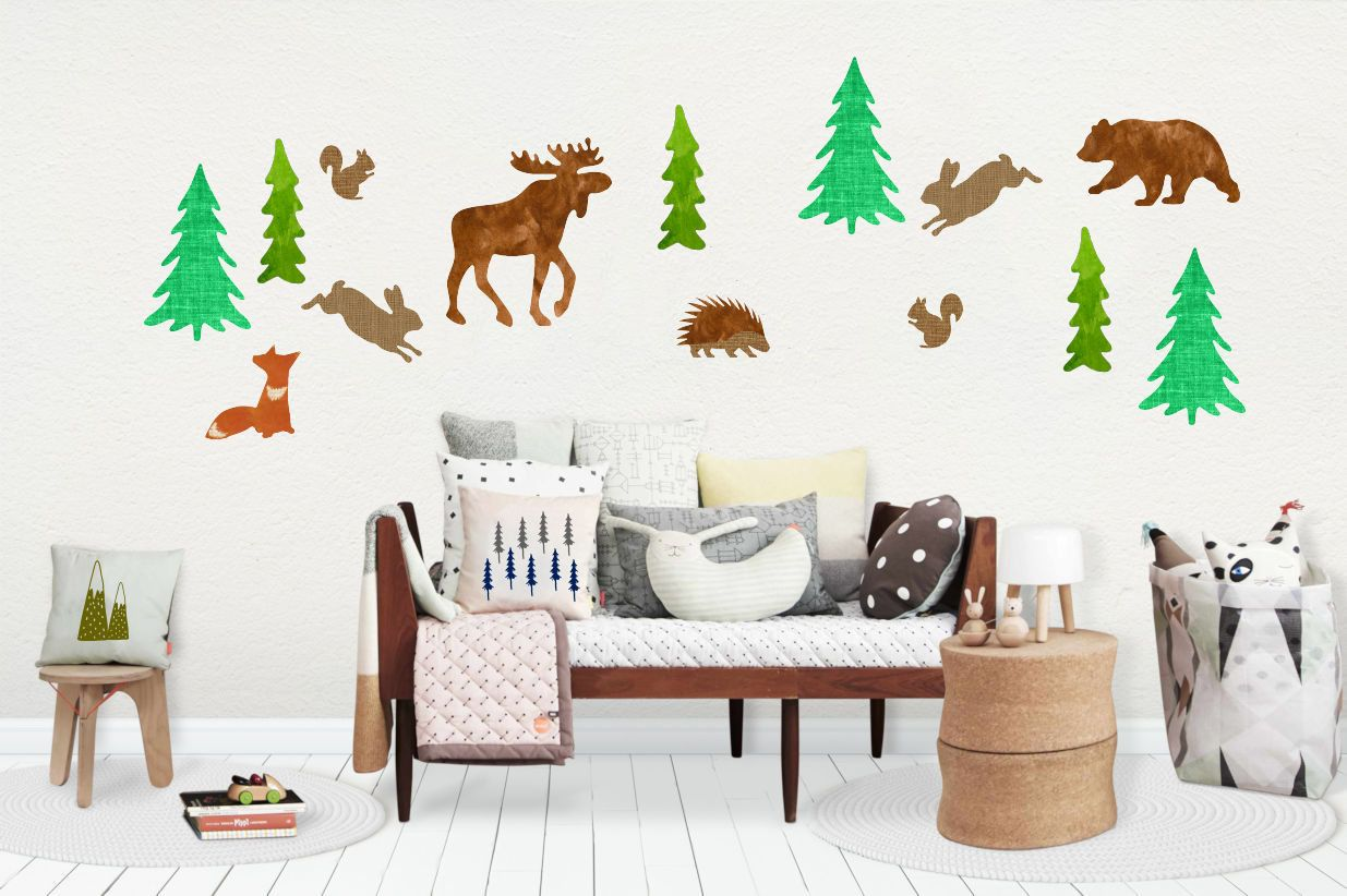 Woodland Wall Decals Reusable Wall Decal Nursery Wall Stickers