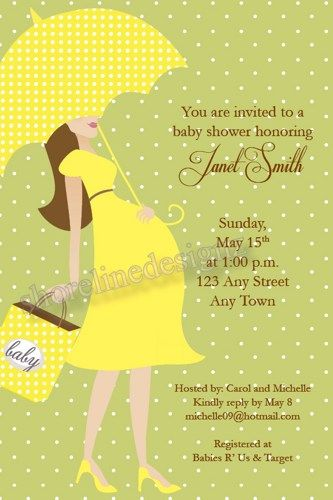 modern day lady baby shower invitation w/yellow dress green, Baby shower
