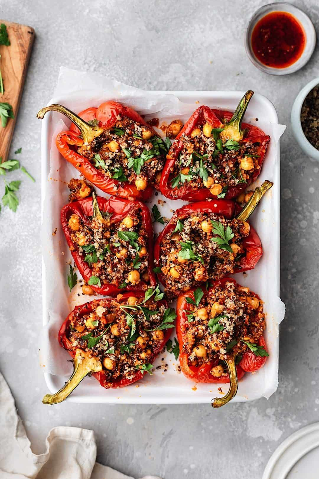 Chickpea And Quinoa Harissa Stuffed Peppers Cupful Of Kale Recipe Stuffed Peppers Peppers Recipes Harissa Recipes