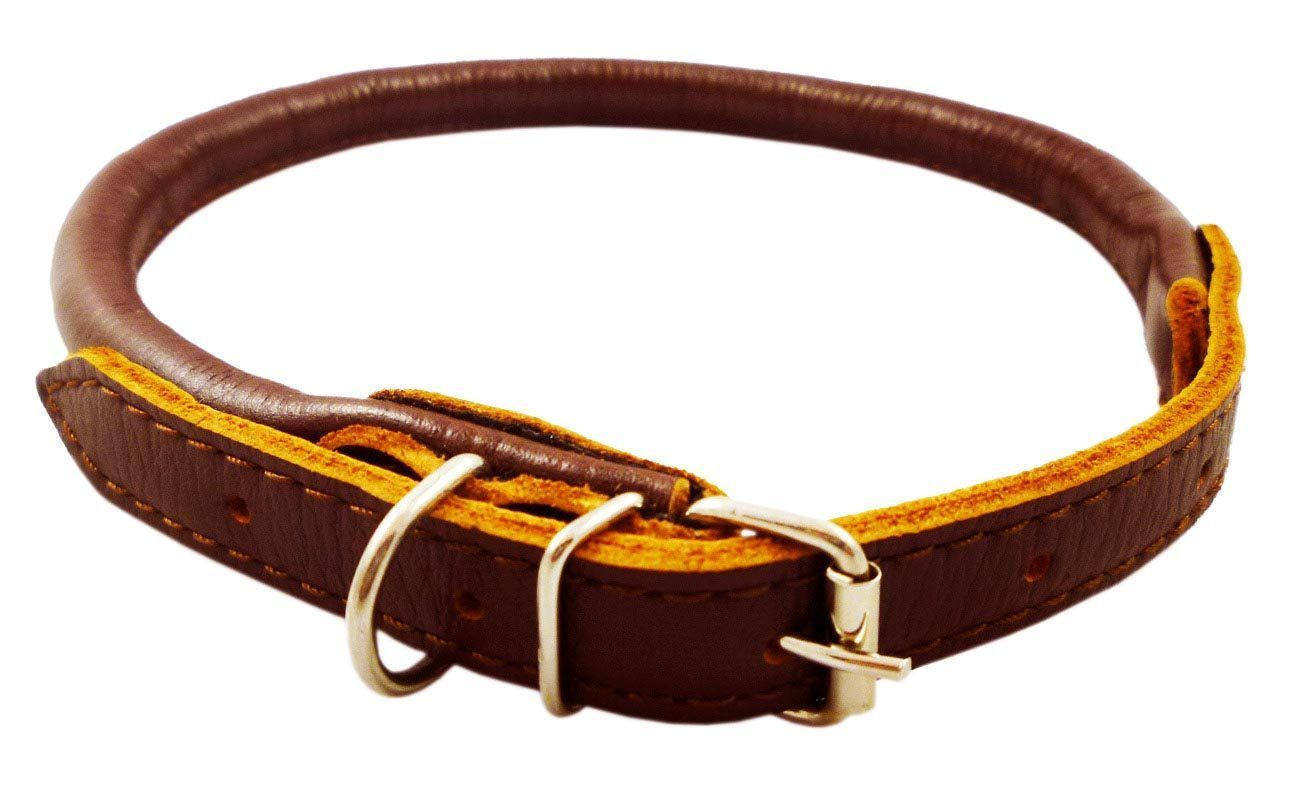 "Brown Rolled Leather Dog Collar 18"" 23"" Chows Collies"