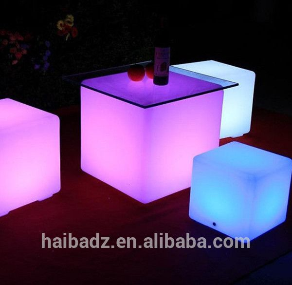 Furniture Plastic LED Cube Chair Led Furniture Led Table Led Chairs China  Supplier Patio Furniture