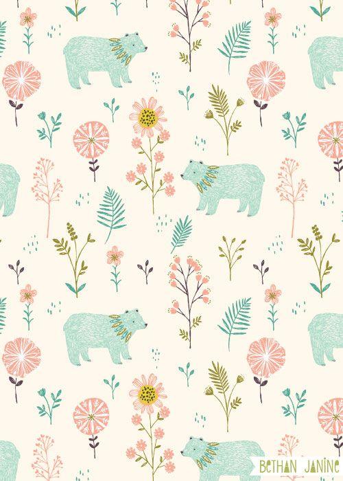 Garden Bears Pattern By Bethanjanine Wallpaper Pinterest
