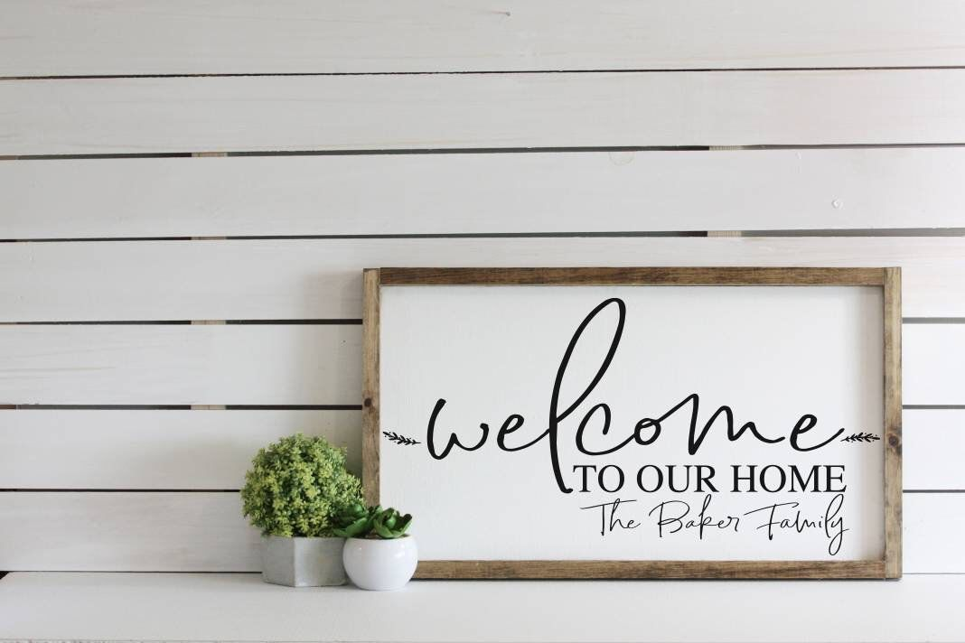 Welcome To Our Home Sign Personalized Wooden Sign Framed Modern Farmhouse Decor Wedding Gift Housewarming Wall Hang Personalized Wooden Signs