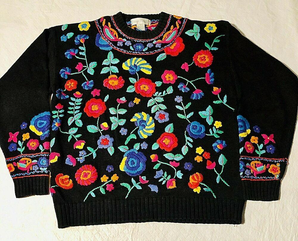 Carole Hanson Sweater Black Floral Embroidery Womens Medium