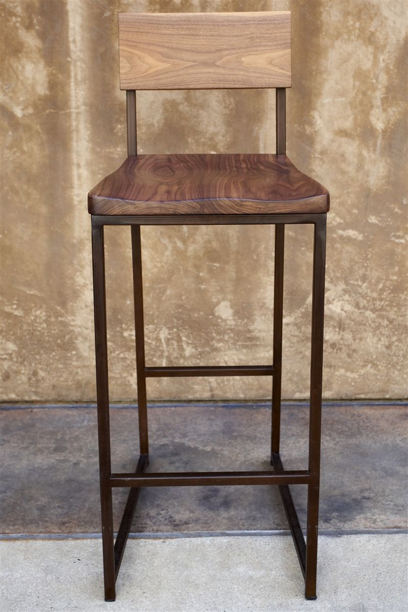 wood metal barstool 1