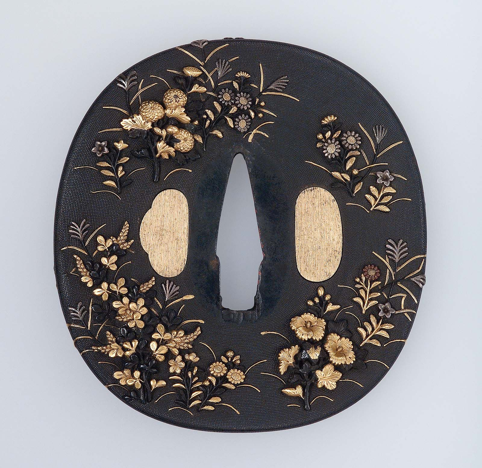 Tsuba with design of autumn plants. Japanese Edo period late 18th to mid-19th…