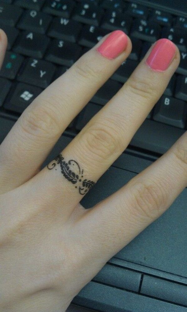 Female Wedding Ring Tattoos: Feather Ring Tattoo, Ring Tattoo