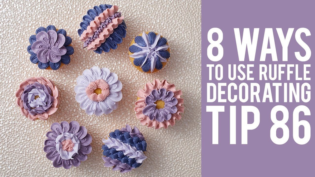 Check out eight unique ways to decorate cupcakes using the Wilton ruffle decorating tip no. 86! With a unique shape - a star-shaped end and a petal end, Tip ...