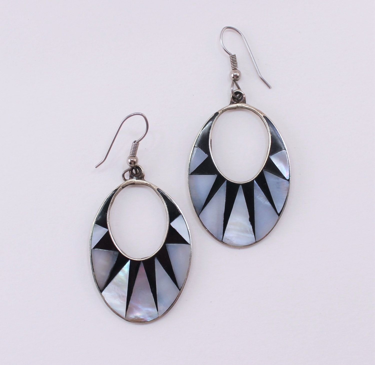 Vintage Signed Alpaca Mexico Silver Tone Mother Of Pearl Mop Abalone Shell  Inlaid Triangle Ivory Black Geometric Pieced Dangle Earrings