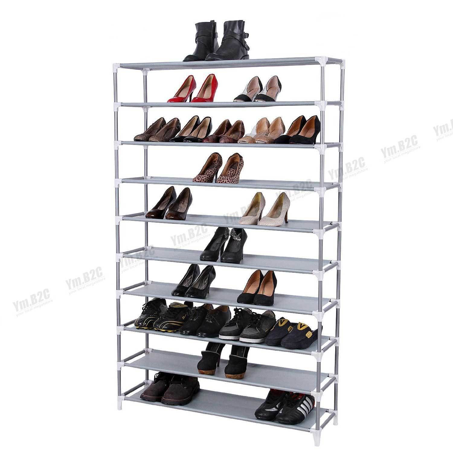 10 Tiers Shoe Rack Shoe Storage Organizer Cabinet Tower with Non-woven