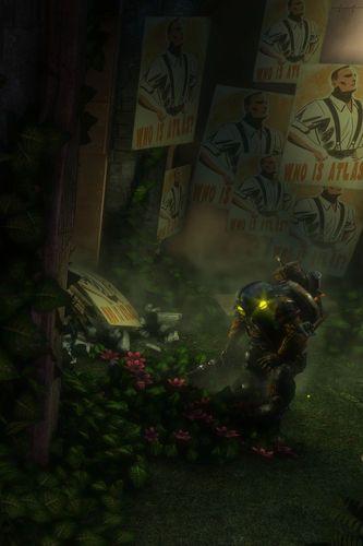 Bioshock Big Daddy In The Garden Iphone Wallpaper