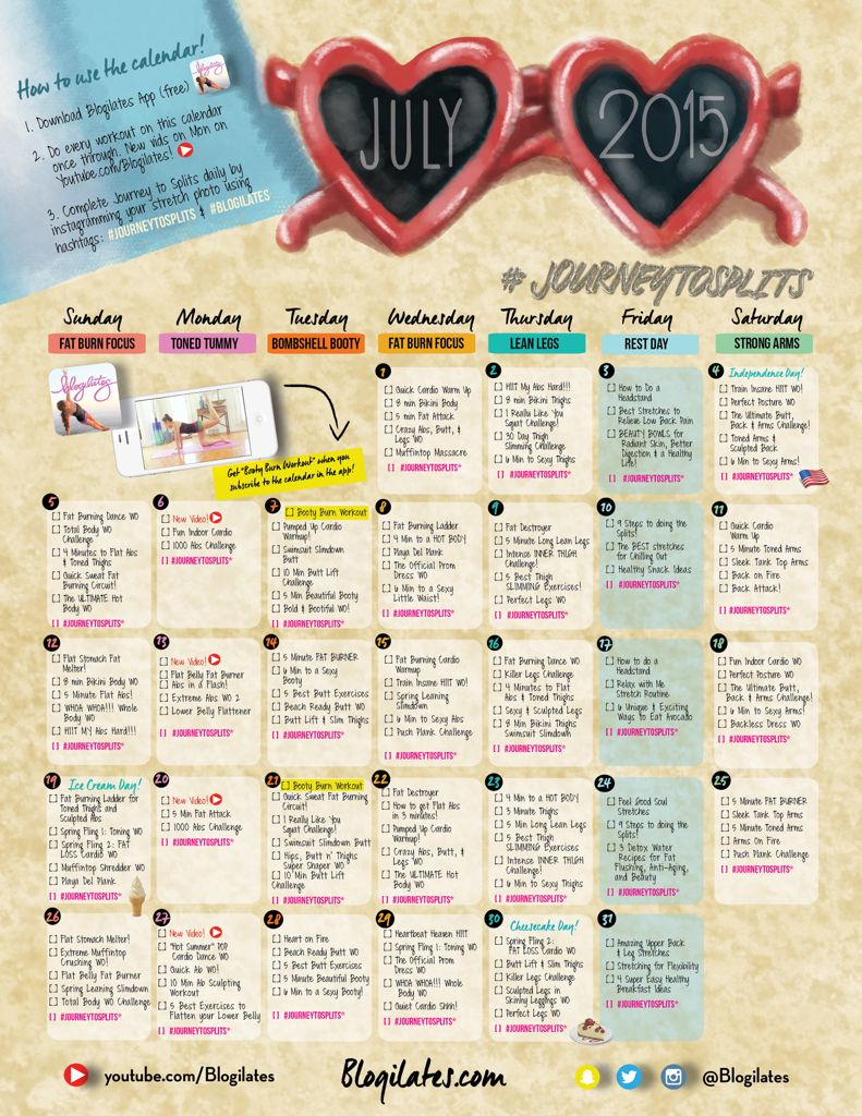 Blogilates July 2015 Workout Calendar You Can Do It Workout