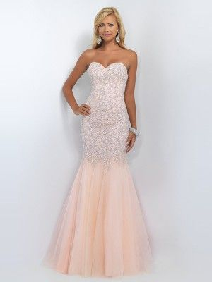 0dd04728894 Trumpet Mermaid Sleeveless Sweetheart Tulle Beading Sweep Brush Train  Dresses - Prom Dresses
