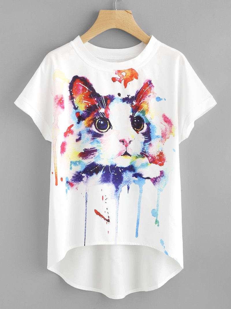 Watercolor Cat Print Batwing Sleeve Dip Hem Top T Shirt Painting