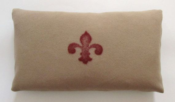 Decorative Pillow - Felted Red and Tan Fluer de Lis