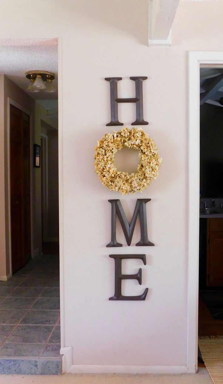 Photo of HOME Letters with Wreath – #farmhousedecor #Home #Letters #WREATH